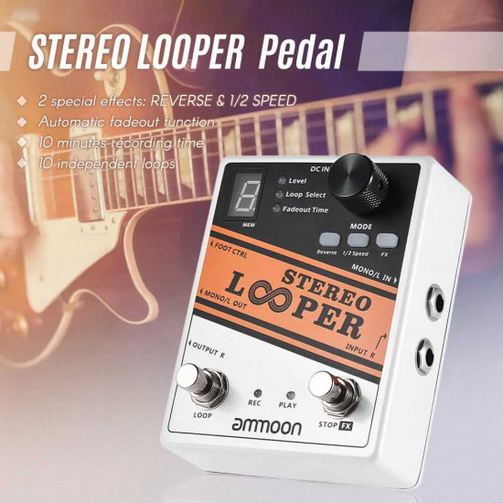 New Gear Day Ammoon STEREO LOOPER Loop Record Guitar Effects Pedal