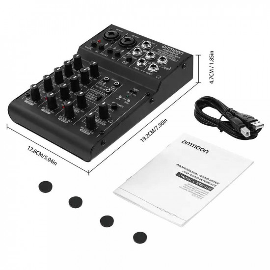 ammoon 4-Channel Mini Mixing Console 2-band EQ Built-in 48V Phantom Power 5V USB Powered for Home Studio Recording AGM04