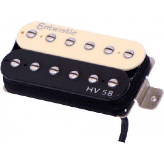 New Gear Day Entwistle HV 58 ZB Alnico 5 Bar Neck Humbucker Nickel Pole Piece Pickup - Zebra for Electric Guitar