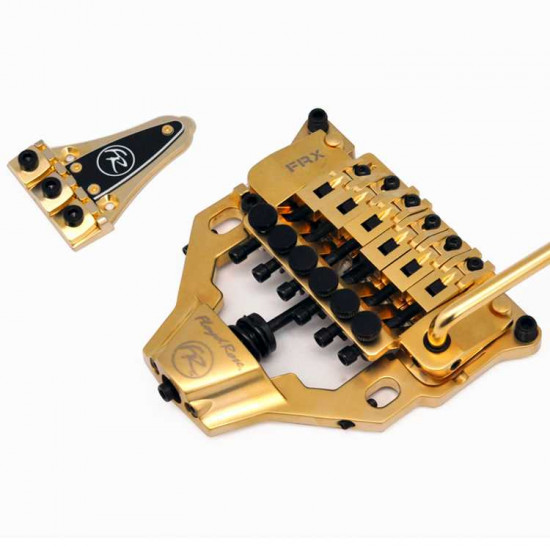 New Gear Day Floyd Rose FRX Top Mount Tremolo Kit Satin Gold with locking nut FRTX03000S