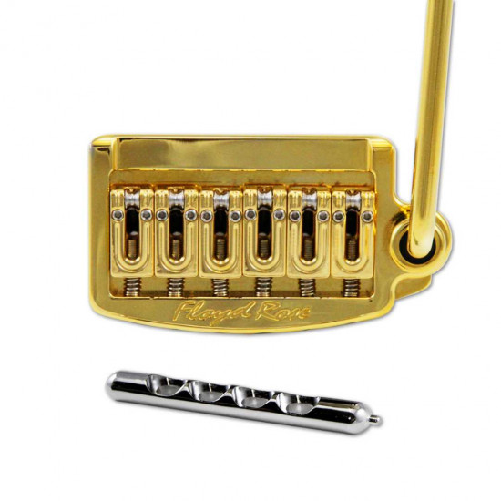 New Gear Day Floyd Rose Rail Tail Tremolo Kit Gold for Strat Style guitars, Wide RT300W