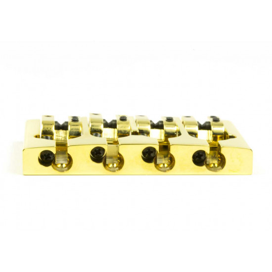 New Gear Day Hipshot A Style 4 String Bass Bridge Aluminum, Gold, Retrofits 5 Hole Fender Mount