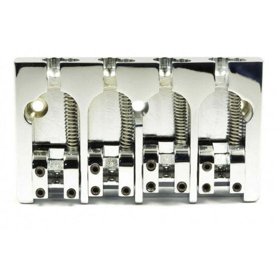 Hipshot A Style 4 String Bass Bridge Aluminum, Chrome, Retrofits 5 Hole Fender Mount