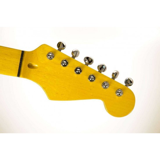 Hipshot Grip-Lock 6 Inline Staggered Post Chrome Locking Tuner With D05 Vintage Buttons
