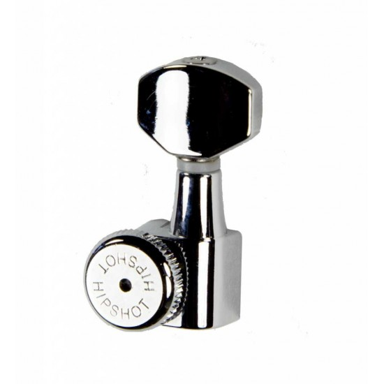 Hipshot Grip-Lock Enclosed 8 In Line Left Hand/Reverse Non-Staggered Post Chrome Locking Tuner