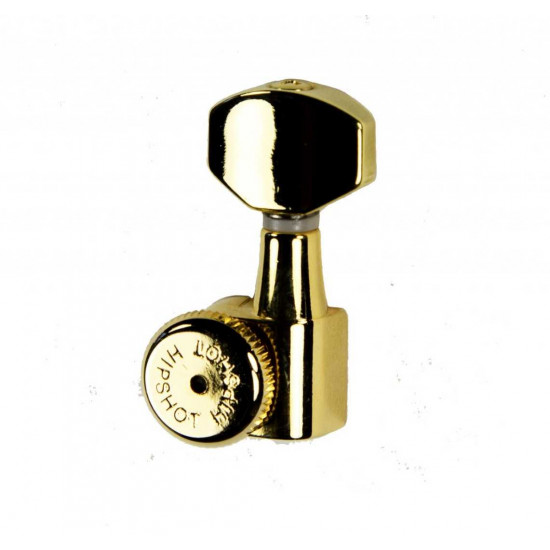 New Gear Day Hipshot Grip-Lock Enclosed 8 In Line Left Hand/Reverse Non-Staggered Post Gold Locking Tuner