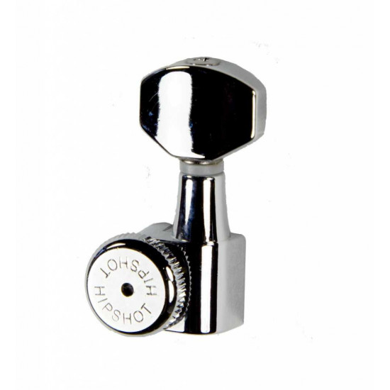 Hipshot Grip-Lock Enclosed Left Hand/Reverse 6 In Line Non-Staggered Post Chrome Locking Tuner