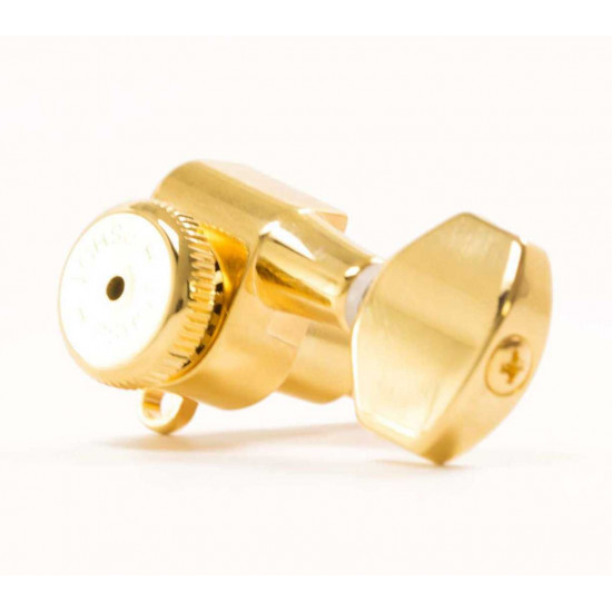 New Gear Day Hipshot Vintage 8.5Mm Gold Non-Staggered Enclosed Grip-Lock Tuner Ump Upgrade Kit