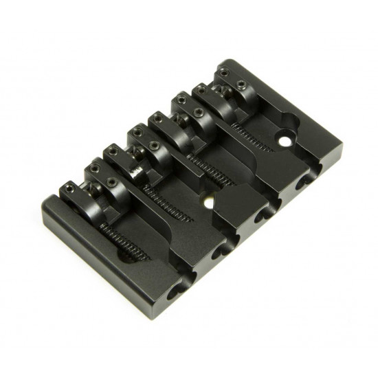Hipshot A Style 4 String Bass Bridge Brass, Black, Retrofits 5 Hole Fender Mount