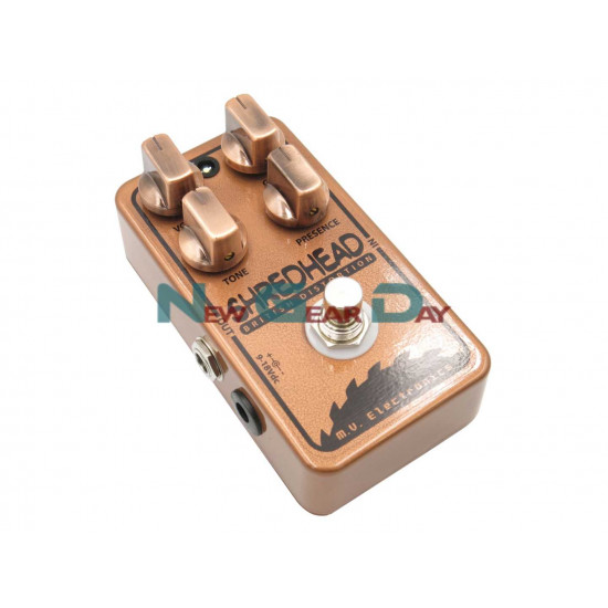 New Gear Day M.V. Electronics Shredhead LE Copper Distortion Guitar Pedal with Free Patch Cable