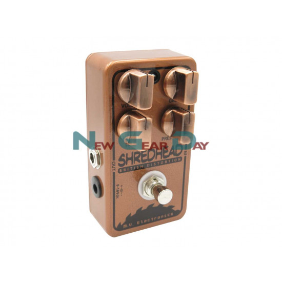 M.V. Electronics Shredhead LE Copper Distortion Guitar Pedal with Free Patch Cable
