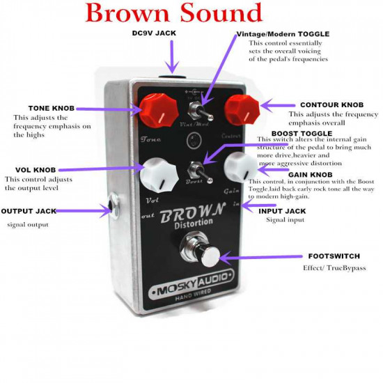 Mosky Brown Distortion Guitar Effects Pedal