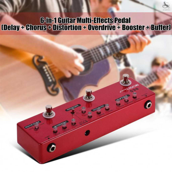 MOSKY DC5 6-in-1 Guitar Multi-Effects Pedal Delay + Chorus + Distortion + Overdrive + Booster + Buffer Full Metal Shell with True Bypass
