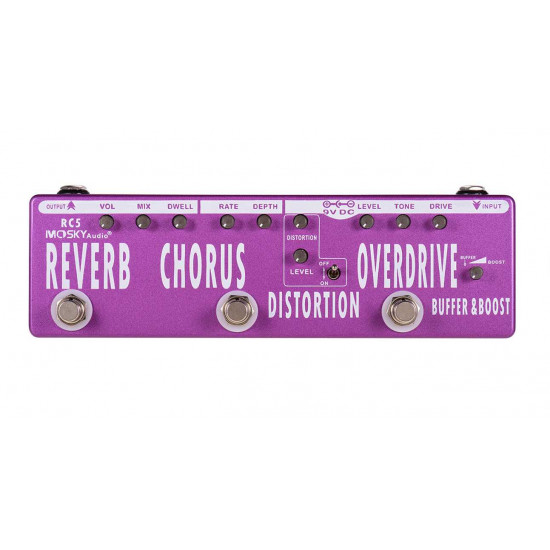MOSKY RC5 6-in-1 Guitar Multi-Effects Pedal Reverb + Chorus + Distortion + Overdrive + Buffer Full Metal Shell with True Bypass