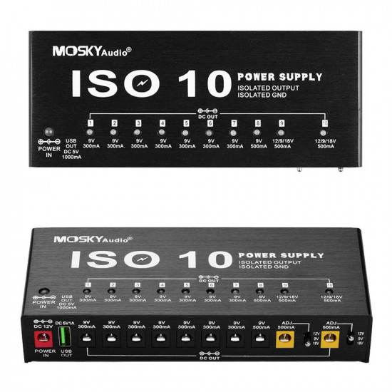 MOSKY ISO-10 Portable Guitar Effect Power Supply Station 10 Isolated DC Outputs & One 5V USB Output for 9V 12V 18V Guitar Effects