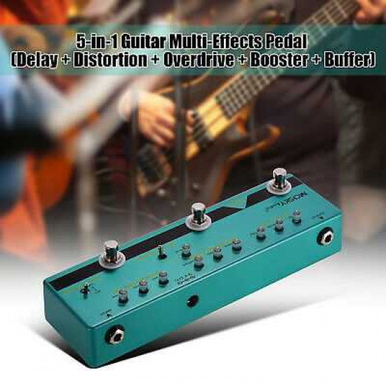 MOSKY BE5 5-in-1 Guitar Multi-Effects Pedal Delay + Distortion + Overdrive + Booster + Buffer Full Metal Shell with True Bypass