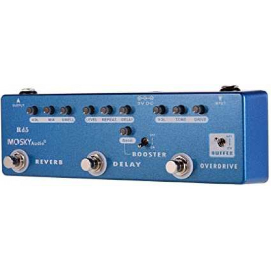 MOSKY RD5 5-in-1 Guitar Multi-Effects Pedal Reverb + Delay + Overdrive + Buffer Full Metal Shell with True Bypass