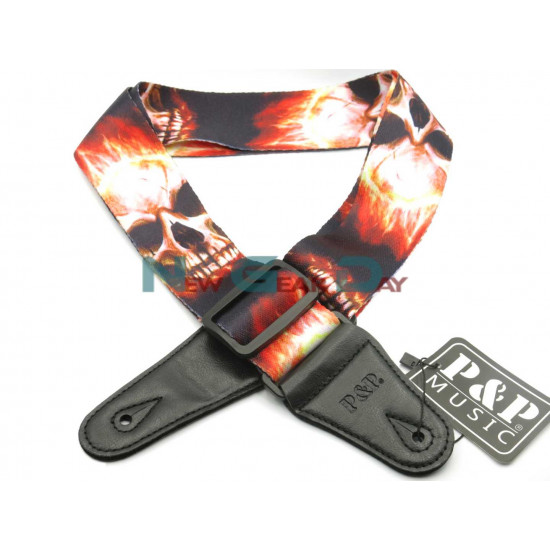 New Gear Day P&P S008-N Red Flame Skull Guitar Strap
