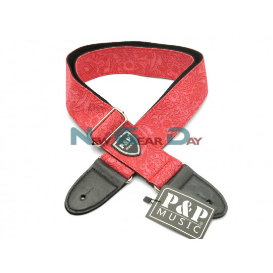 New Gear Day P&P S130-A Red Denim Flower Guitar Strap