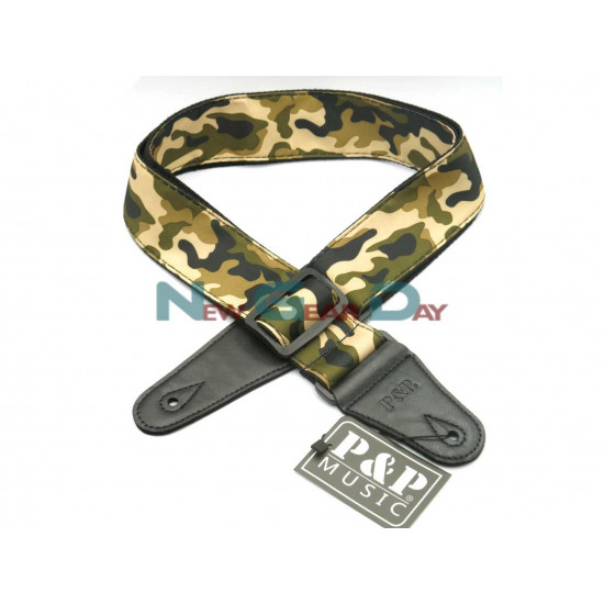 New Gear Day P&P S142-C Green Camouflage Guitar Strap