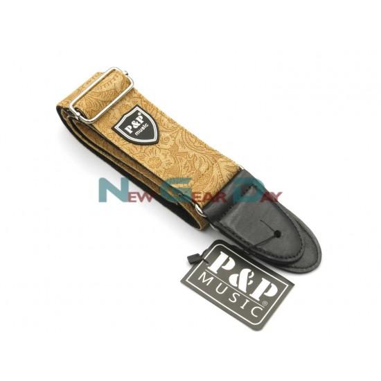 New Gear Day P&P S130-C Brown Denim Flower Guitar Strap