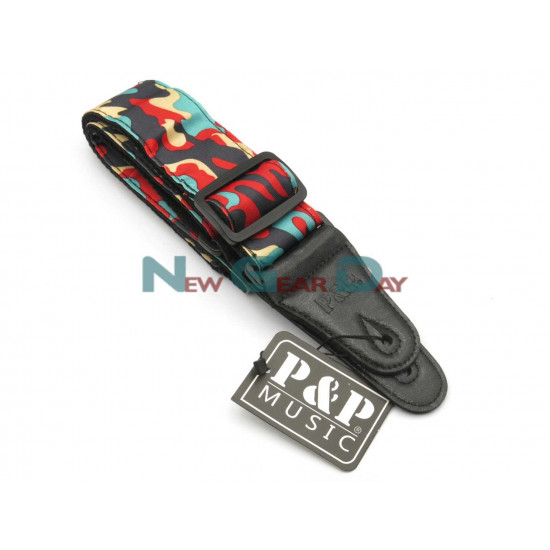 New Gear Day P&P S142-A Red Green Black Camouflage Guitar Strap
