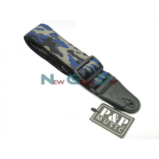 New Gear Day P&P S142-E Blue Camouflage Guitar Strap
