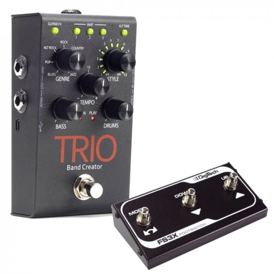 New Gear Day Digitech TRIO Band Creator Guitar Effects Pedal with Digitech FS3X Footswitch