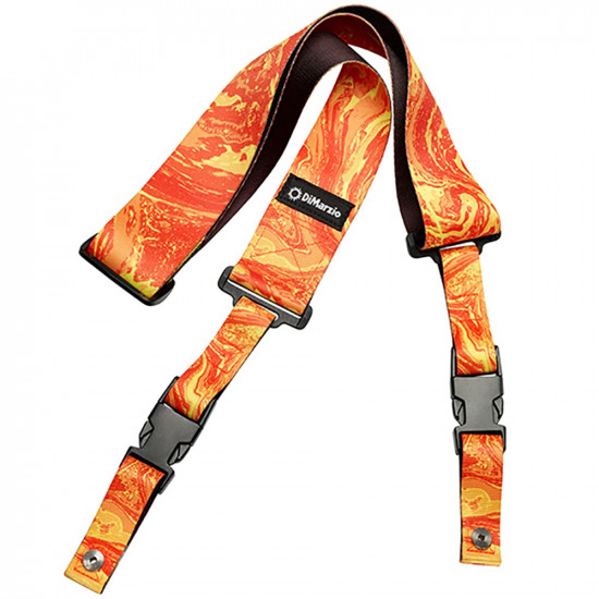 New Gear Day DiMarzio DD2245 Steve Vai ClipLock Quick Release Guitar Strap Orange Universe