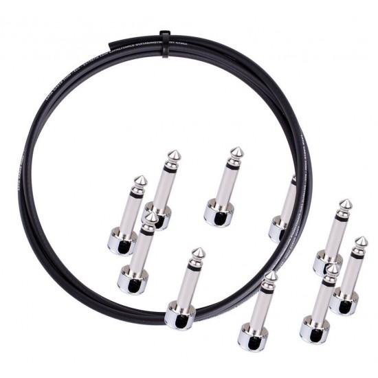 Lava Cable Solder Free Pedalboard kit, Angled Piston Plugs, 10ft Mini ELC - Black