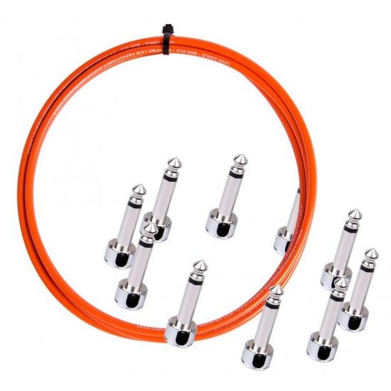 New Gear Day Lava Cable Solder Free Pedalboard kit, Angled Piston Plugs, 10ft Mini ELC - Orange
