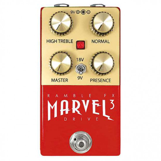 Ramble FX Marvel Drive V3 Overdrive Effects Pedal - Red