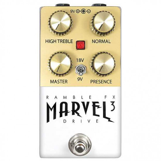 Ramble FX Marvel Drive V3 Overdrive Effects Pedal - White