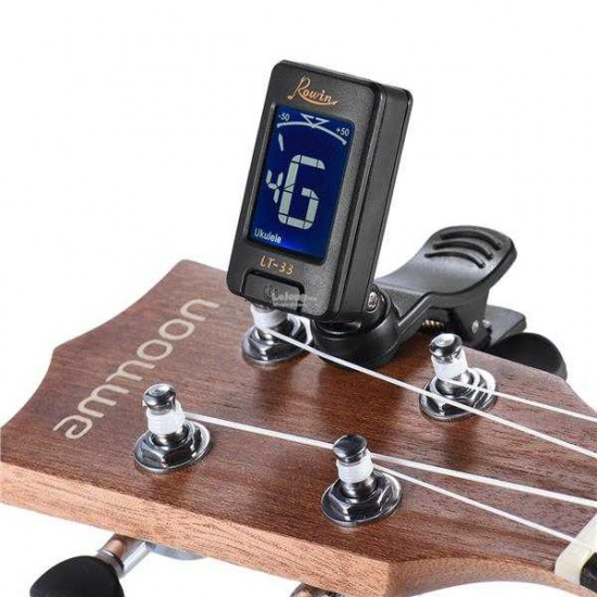 New Gear Day Rowin LT-33 Clip-On Clip Tuner Automatic Digital Electronic LCD Tuner for Acoustic Electric Guitar Bass Chromatic Violin Ukulele