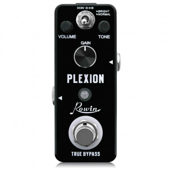 Rowin Plexion Distortion Pedal for Guitar and Bass with Bright and Normal Mode True Bypass