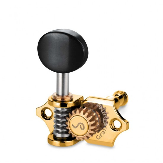 Schaller Germany Grand Tune Tuners, 3X3 Gold, Ebony Buttons 10510523