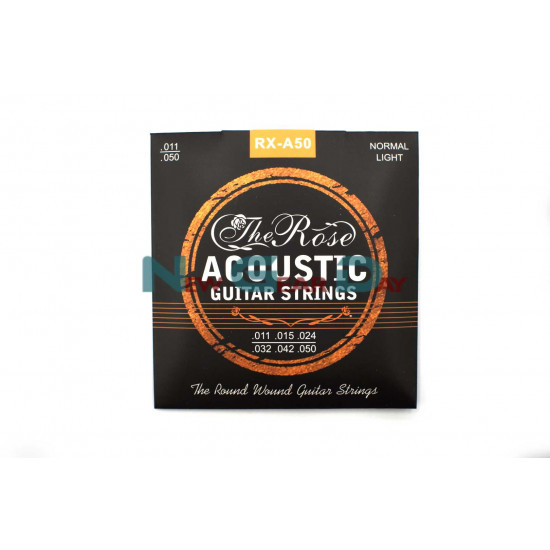 The Rose RX-A50- Acoustic Guitar Strings Phosphor Bronze Steel 11 to 50 - 5 sets