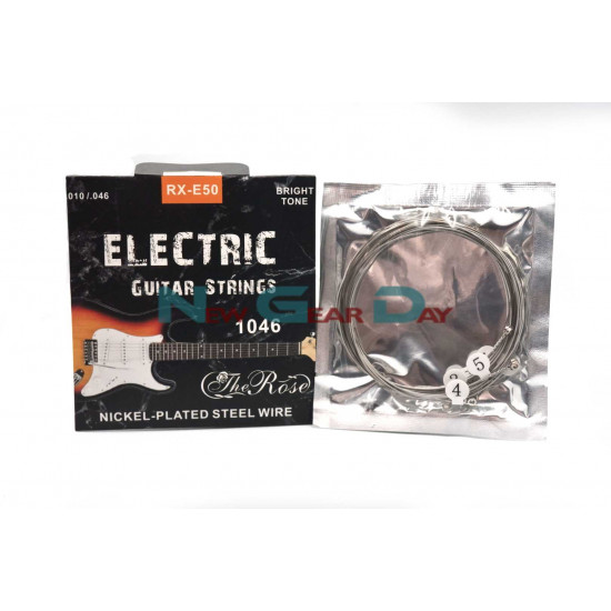 The Rose RX-E50- Electric Guitar Strings Nickel Plated Steel 10 to 46 - 5 sets