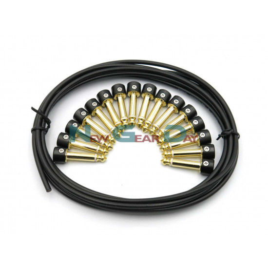 Pro-C Solderless Patch Cable Kit 16pc Gold Plated Straight/Angled Plugs 5meters Black Cable